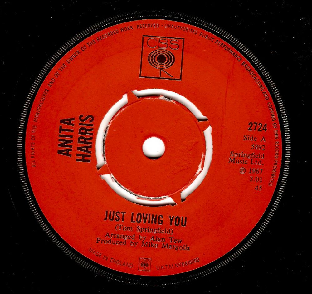 ANITA HARRIS Just Loving You Vinyl Record 7 Inch CBS 1967